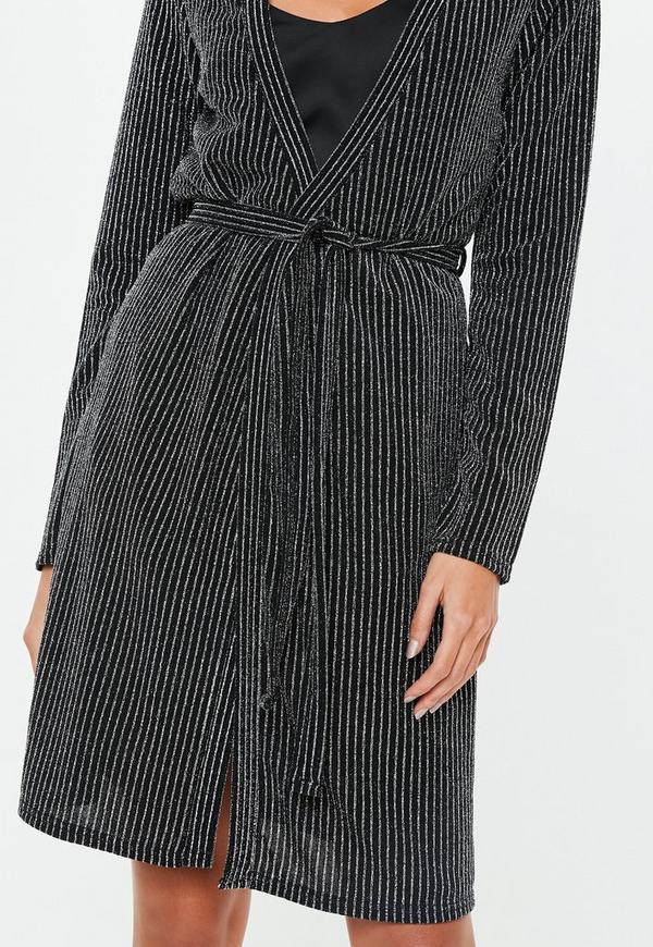 5d97b9ef71 ... Black Metallic Stripe Dressing Gown. Previous Next