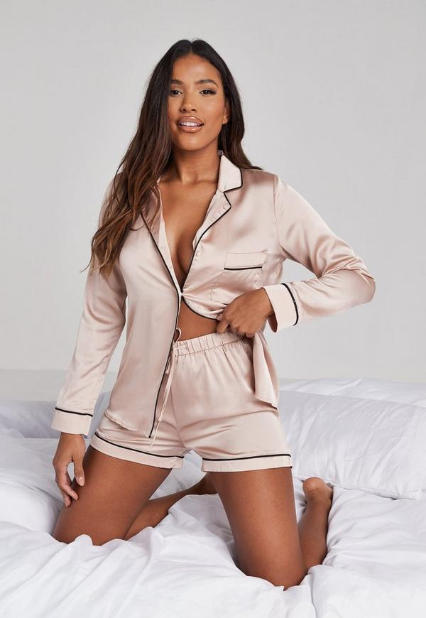 Mink Satin Piping Detail Short Pyjama Set by Missguided