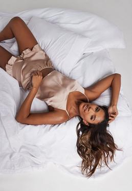 0381786492 Mink Satin Cami Frill Short Pyjama Set