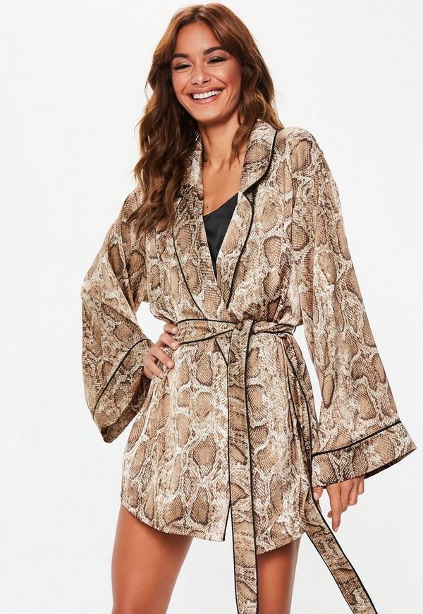 cba49da96f ... Brown Snake Print Satin Dressing Gown. Previous Next