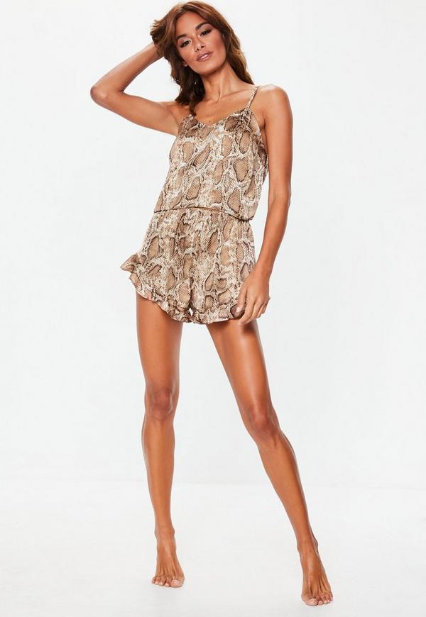... Brown Snake Print Satin Cami Frill Short Pajamas Set. Previous Next 7c12d5b07