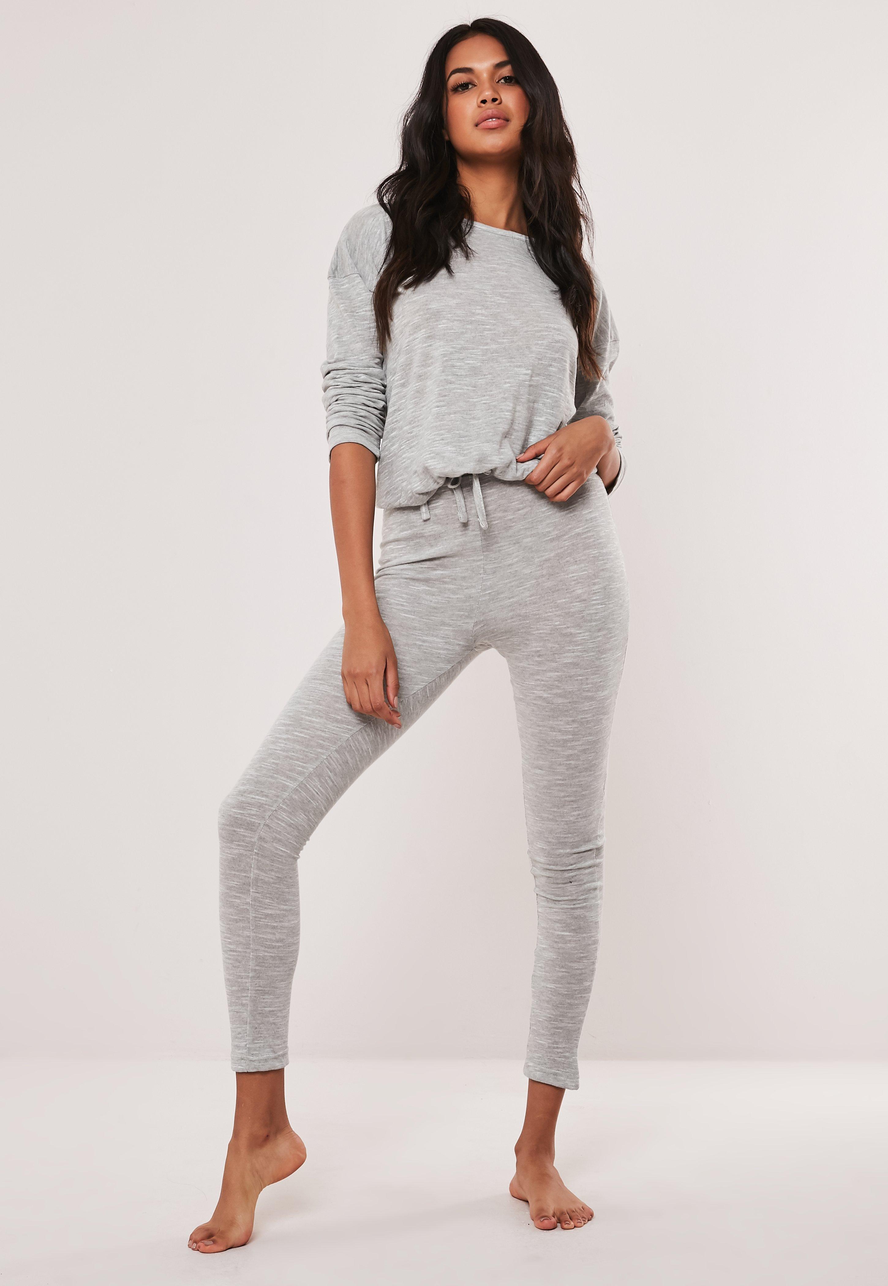 9c49637506 Grey Soft Knit Long Sleeve Drawstring Loungewear Set