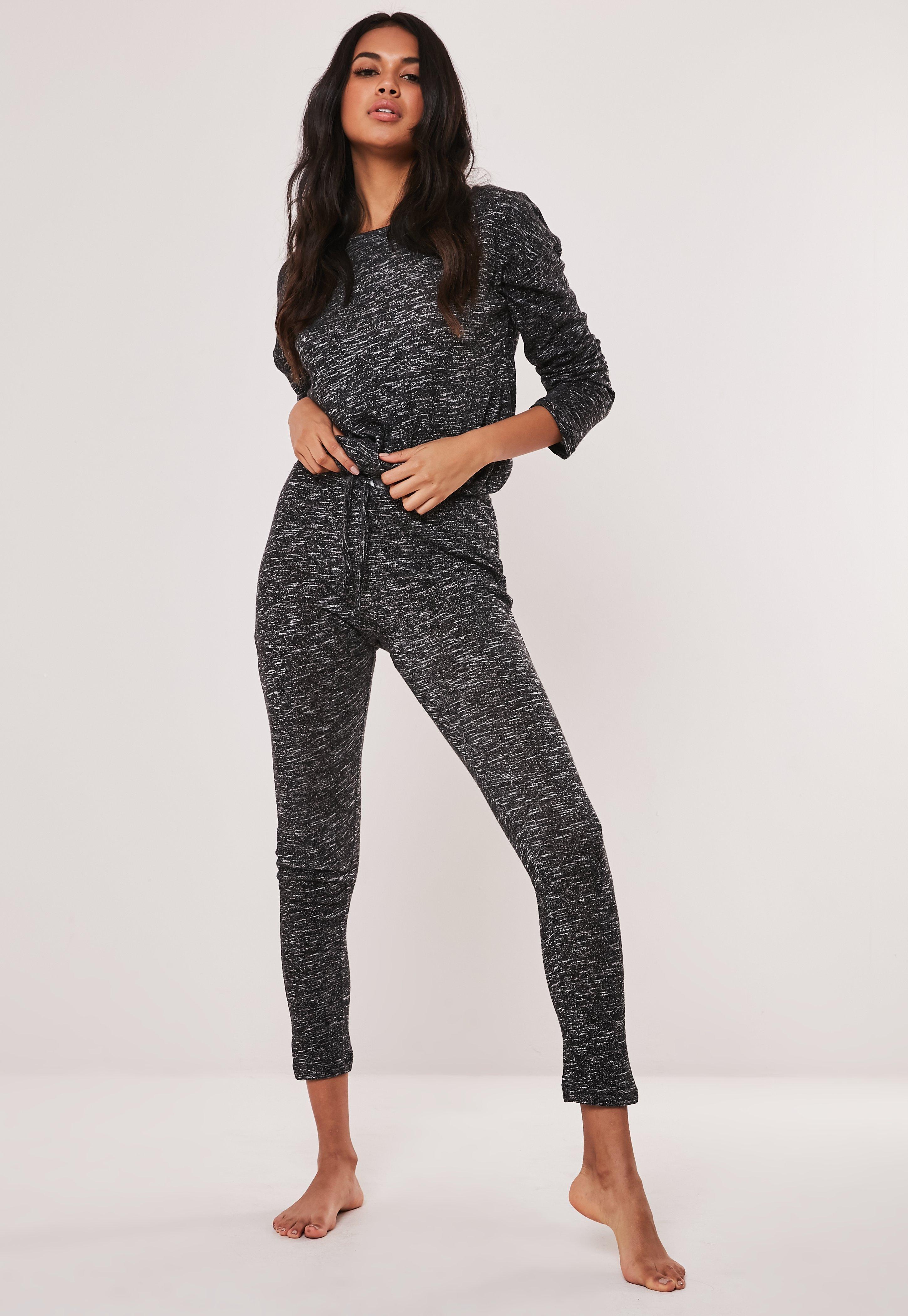 578db816 Black Soft Knit Long Sleeve Drawstring Loungewear Set
