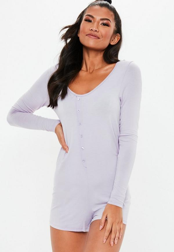 Purple Button Front Long Sleeve Teddy by Missguided
