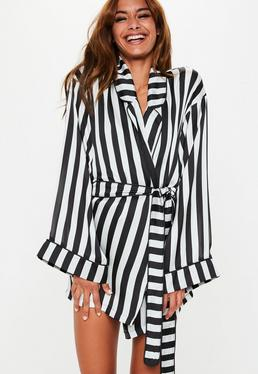 ... Black Satin Monochrome Stripe Dressing Gown cc6c29838