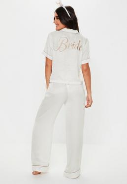 Белая атласная пижама для брюк с короткими рукавами