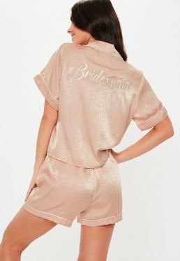 51859cbdd38f3 Petite Pink Satin Stripe Trouser Pyjama Set · Blush Satin Bridesmaid Short  Sleeve Pyjama Set