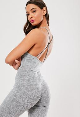 0cf48b3de05e7 Black Casual Loungewear Jumpsuit · Grey Cross Back Loungewear Jumpsuit