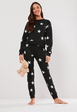 ... Black Star Long Sleeve Trouser Pyjama Set ae45b204b
