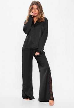 ... Black Lace Panel Long Sleeve Trouser Pyjama Set b86374aaf