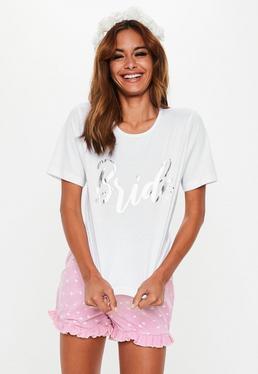 6b51d5b1a0 Biały komplet piżamowy  top + spodenki · Biało-różowy komplety piżamowy  Bride