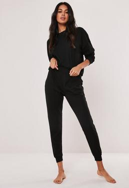 Black Casual Loungewear Jumpsuit  Black Soft Ribbed Lounge Set 16aebc4bd