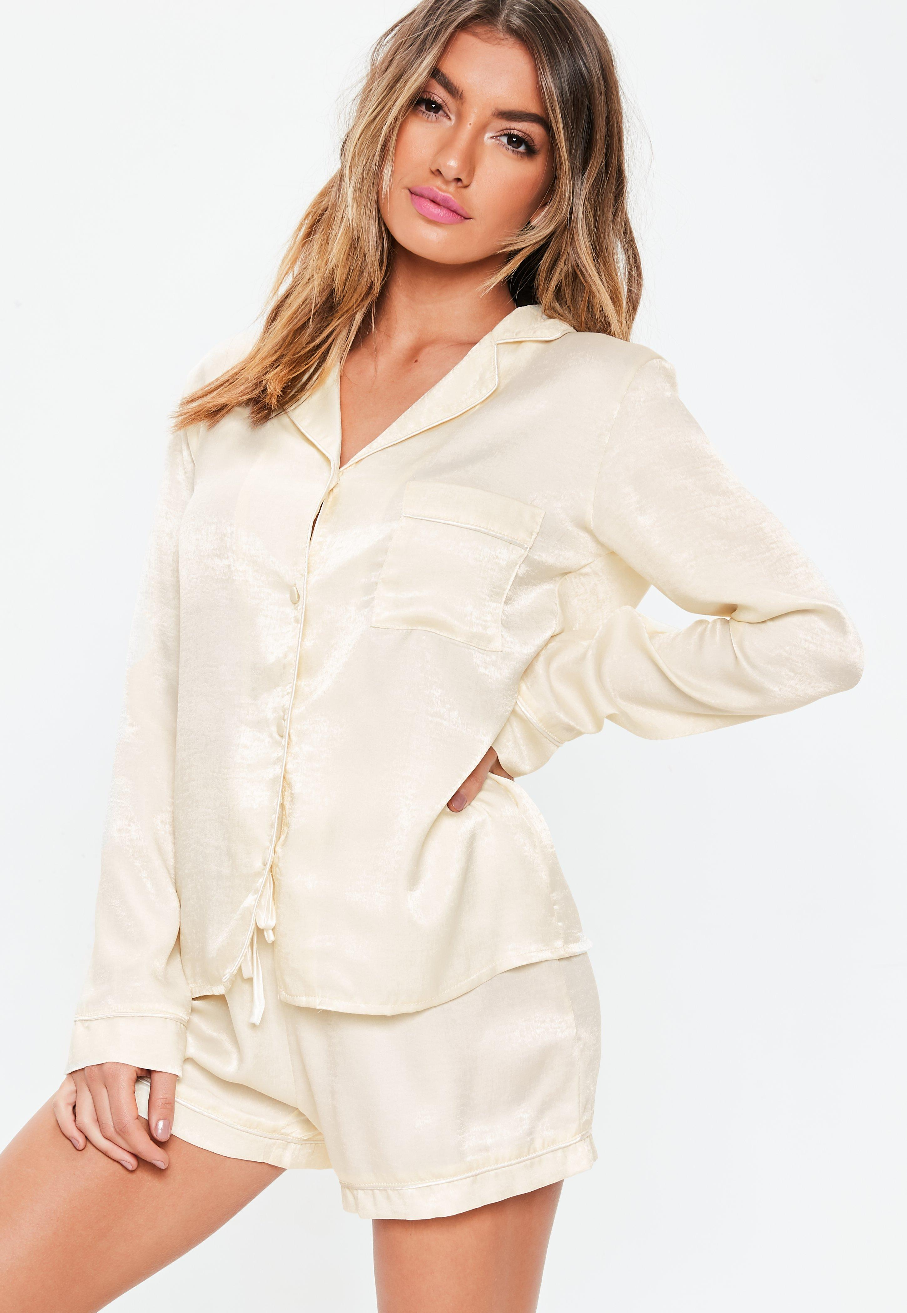 Cream Satin Long Sleeve Pyjama Set by Missguided