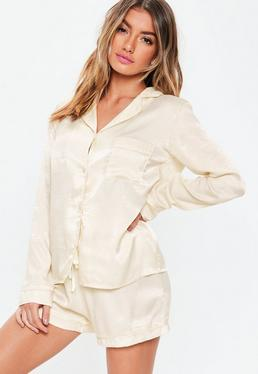 ... Cream Satin Long Sleeve Pyjama Set 2bc3f234dbd8e