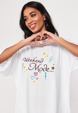 7f3fd6ead762 ... White Weekend Mode Oversized Night T Shirt
