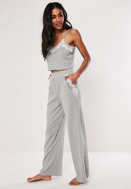 a0c298411dac40 ... Grey Rib Cami Top and Trouser Loungwear Set