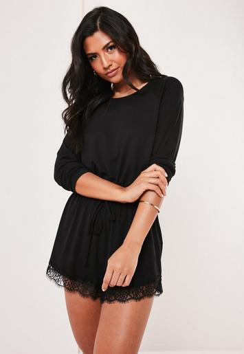 Black Long Sleeve Lace Trim Teddy by Missguided