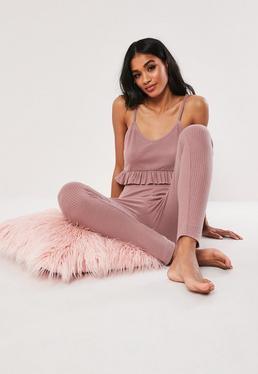 6696c7cecfd ... Pink Rib Cami Top and Trouser Pyjama Set