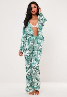 Зеленая комбинированная пижамная пижама с принтом ладони