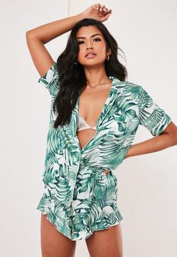 8914b2e0b2c ... Green Mix And Match Palm Print Satin Pyjama Shorts