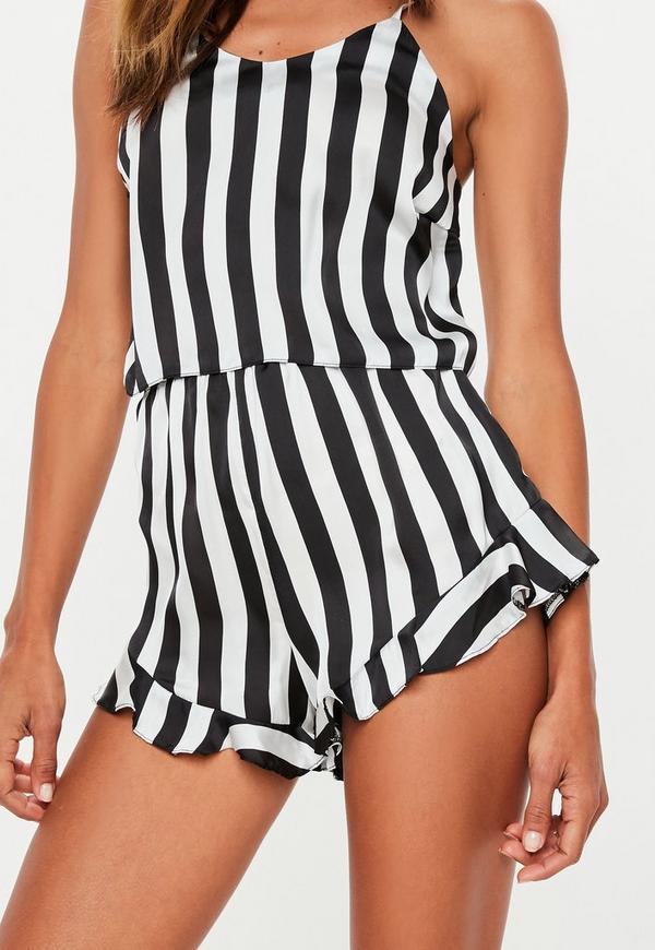 5b7472d3b2 Black Satin Monochrome Frill Cami Pyjama Top. Previous Next