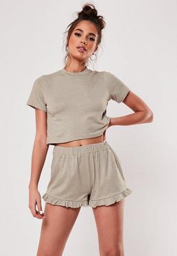 b92981a802 Beige Mix And Match Super Soft Frill Hem Pyjama Shorts