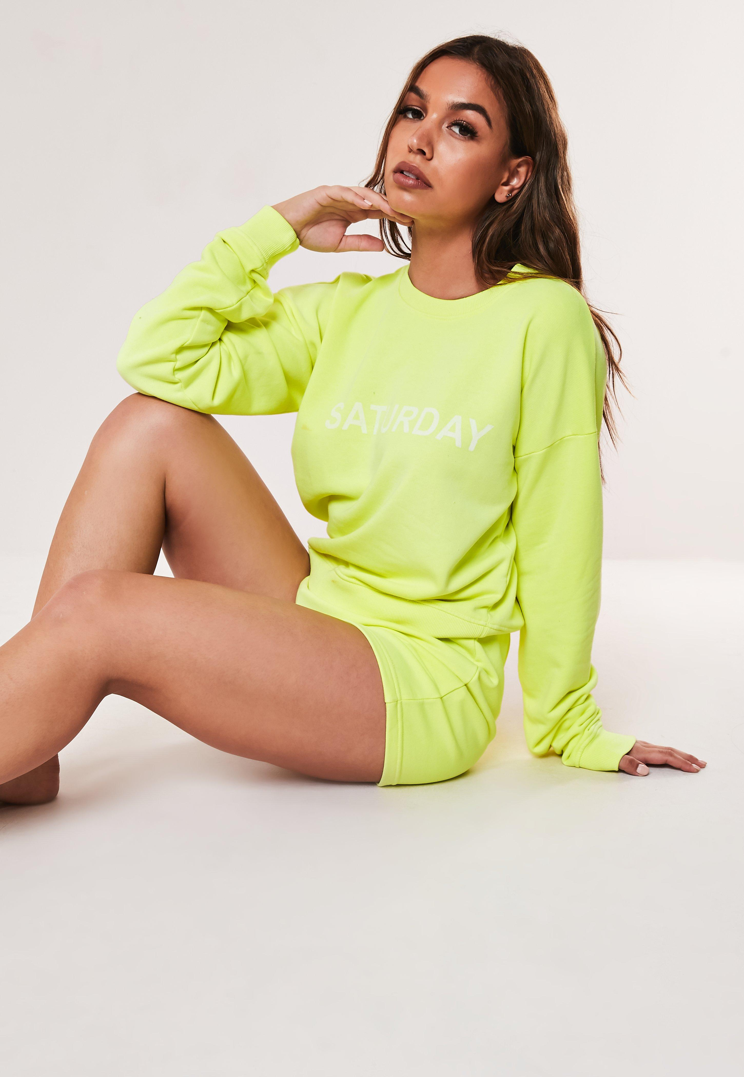 Lime Saturday Sweatshirt And Shorts Loungewear Set by Missguided