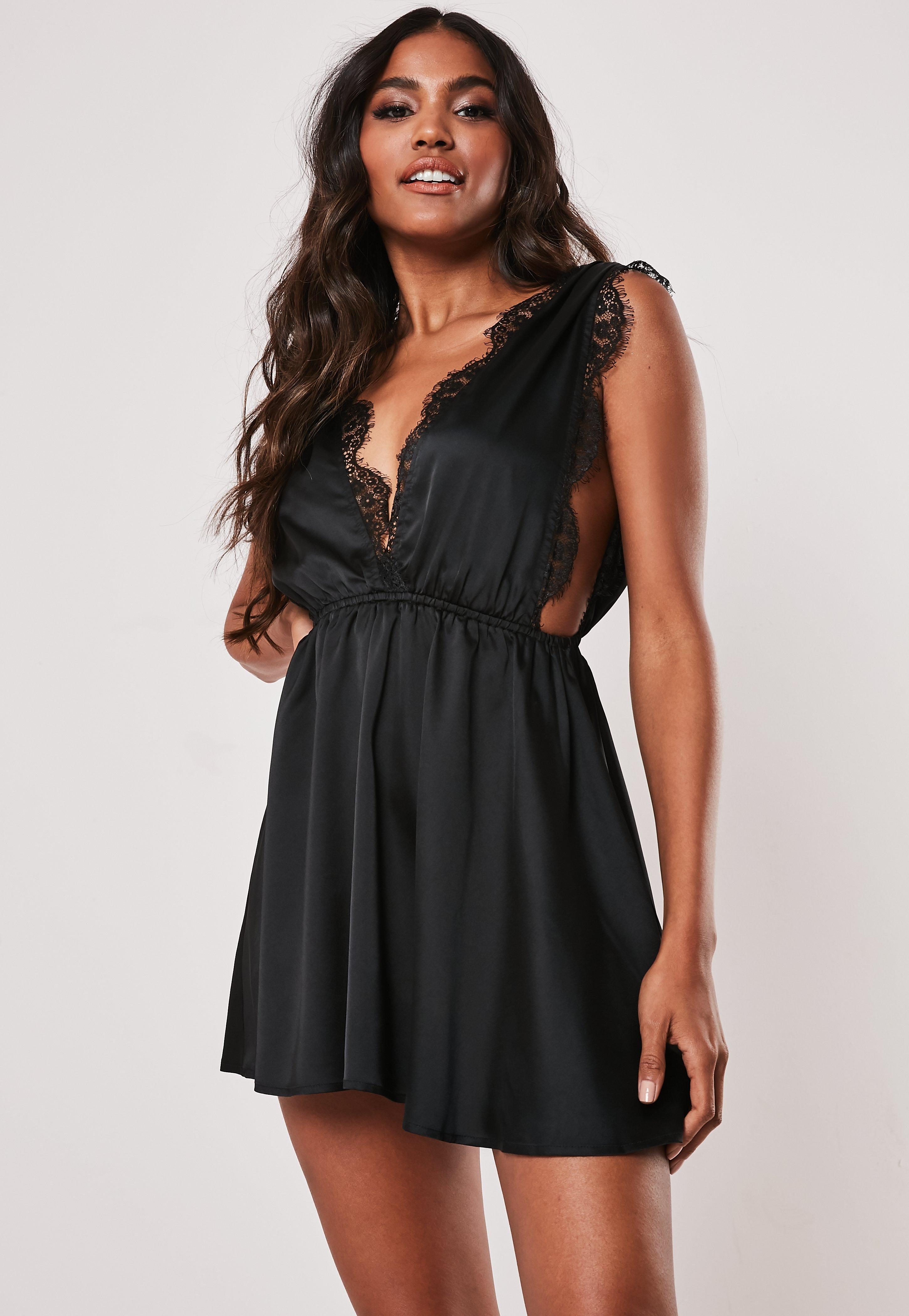 Black Satin Lace Trim Plunge Night Dress by Missguided