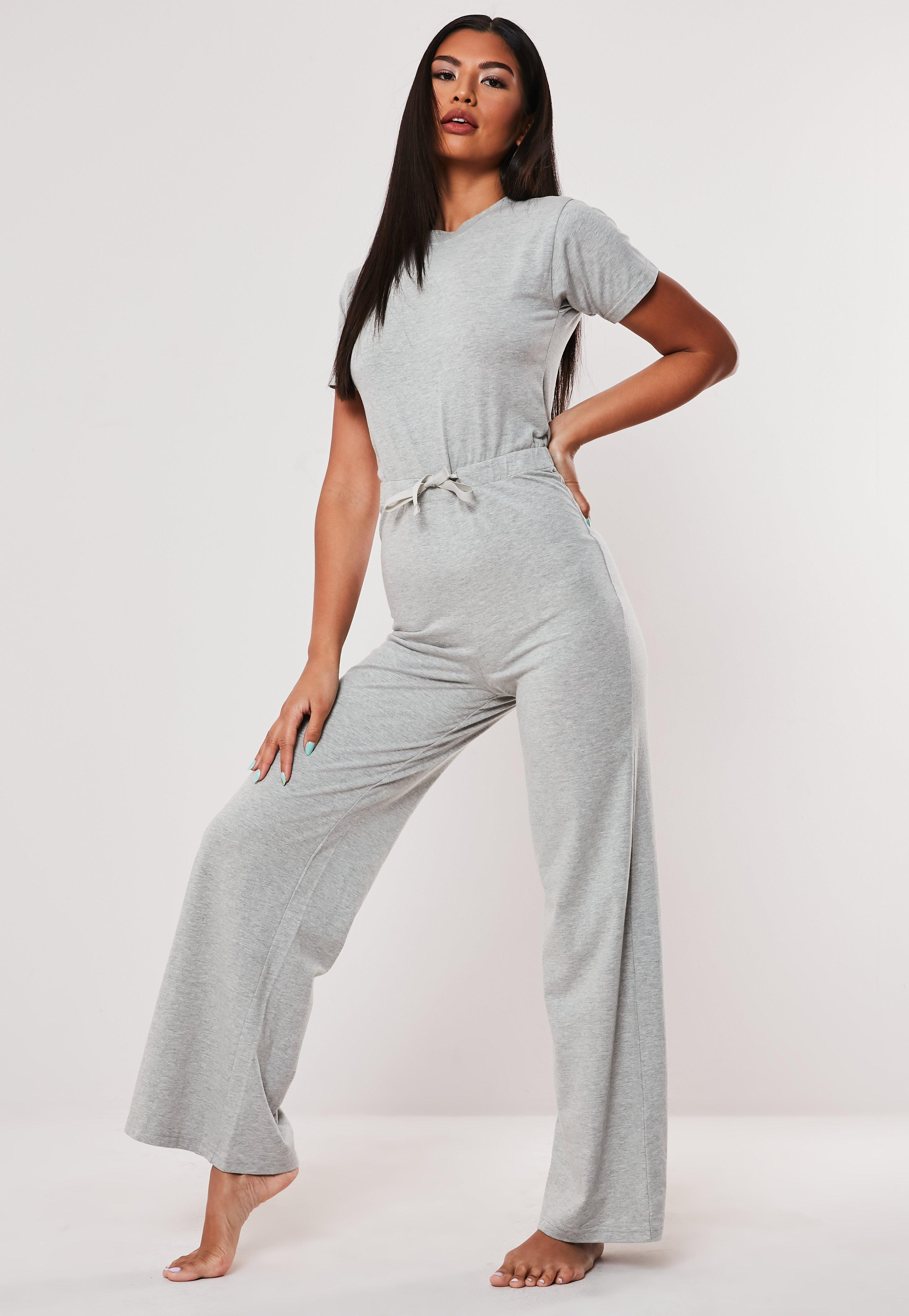 02dd9d8006 Grey Cap Sleeve Ribbon Drawstring Loungewear Jumpsuit