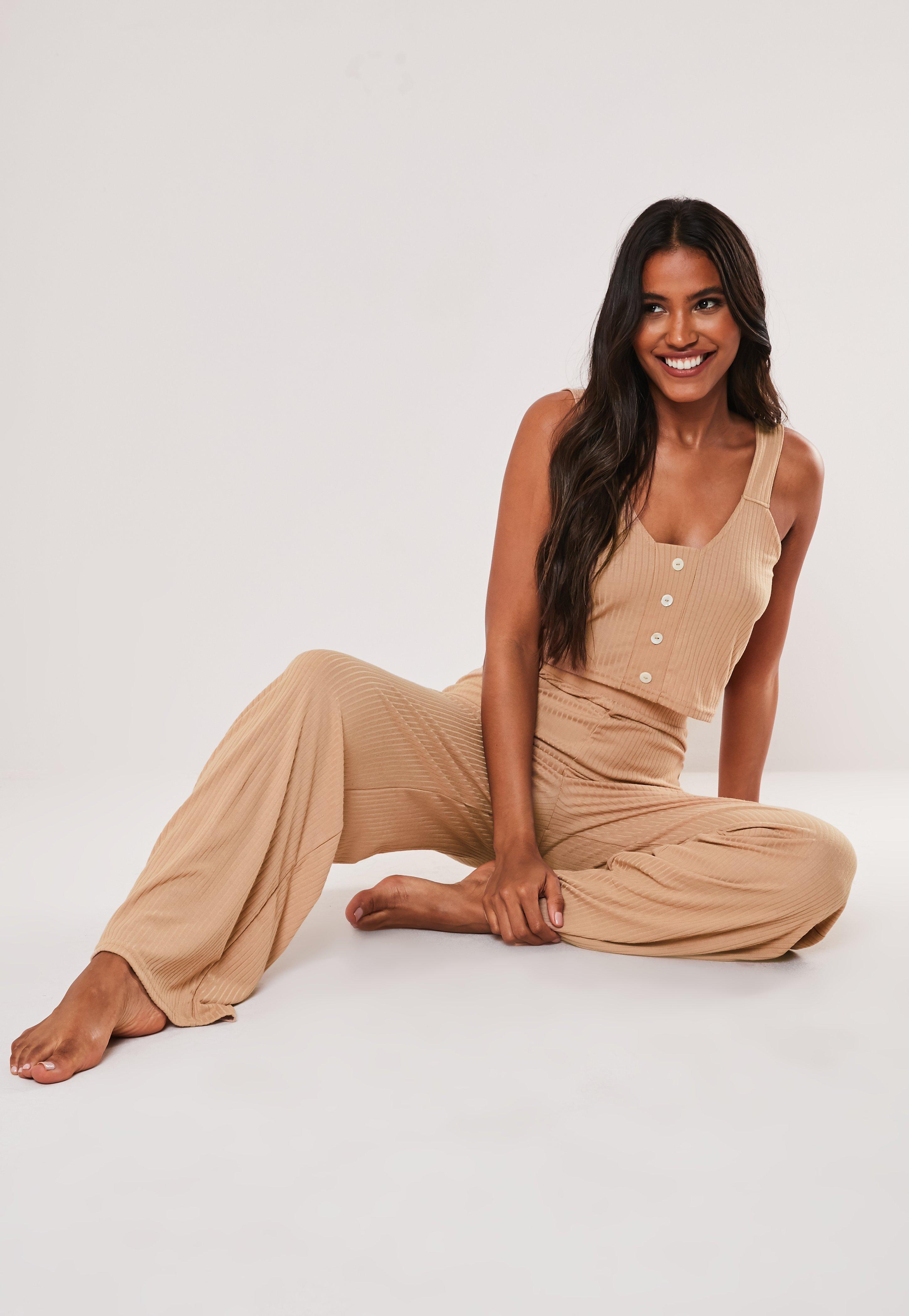 7840b314fc97f Camel Rib Vest Top and Wide Leg Trousers Pyjama Set