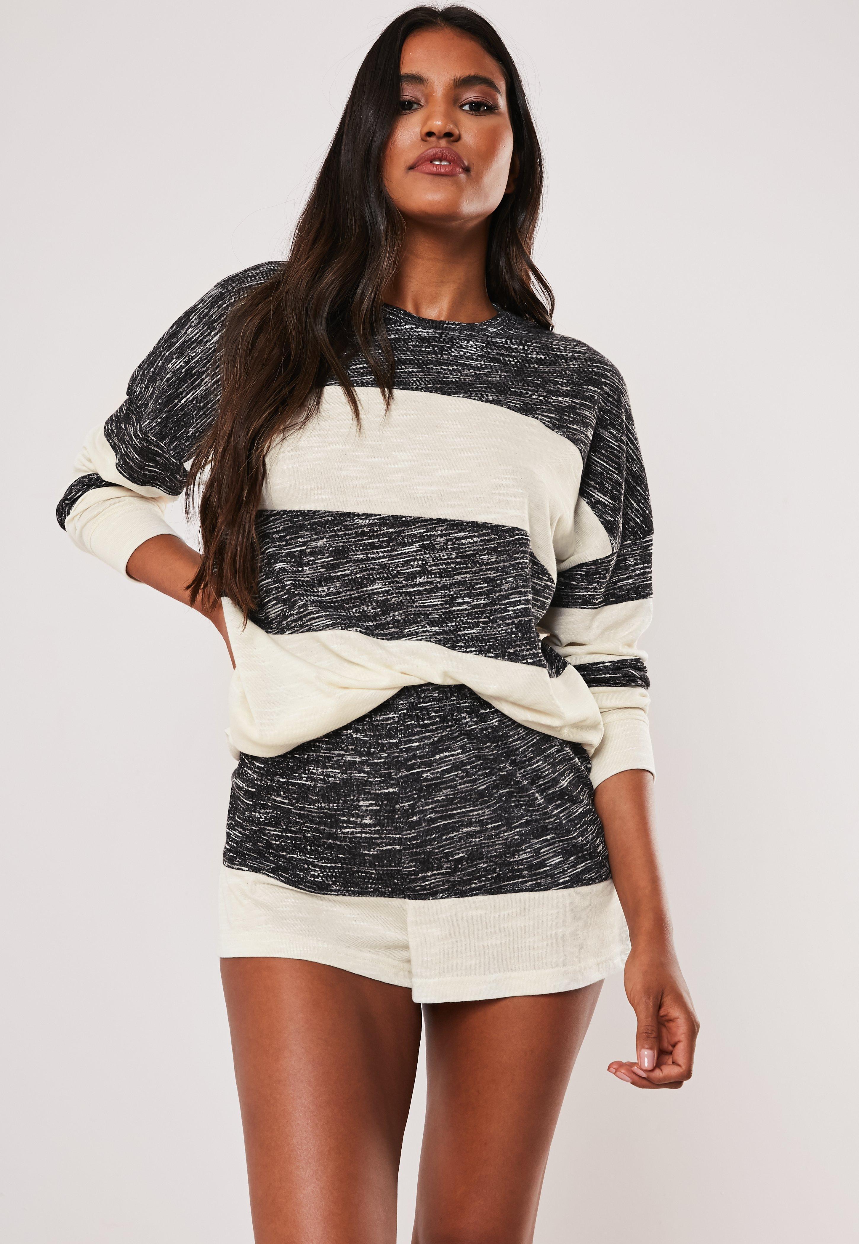 596bcc86f7 Grey Soft Knit Contrast Stripe Long Sleeve Top And Shorts Pyjama Set