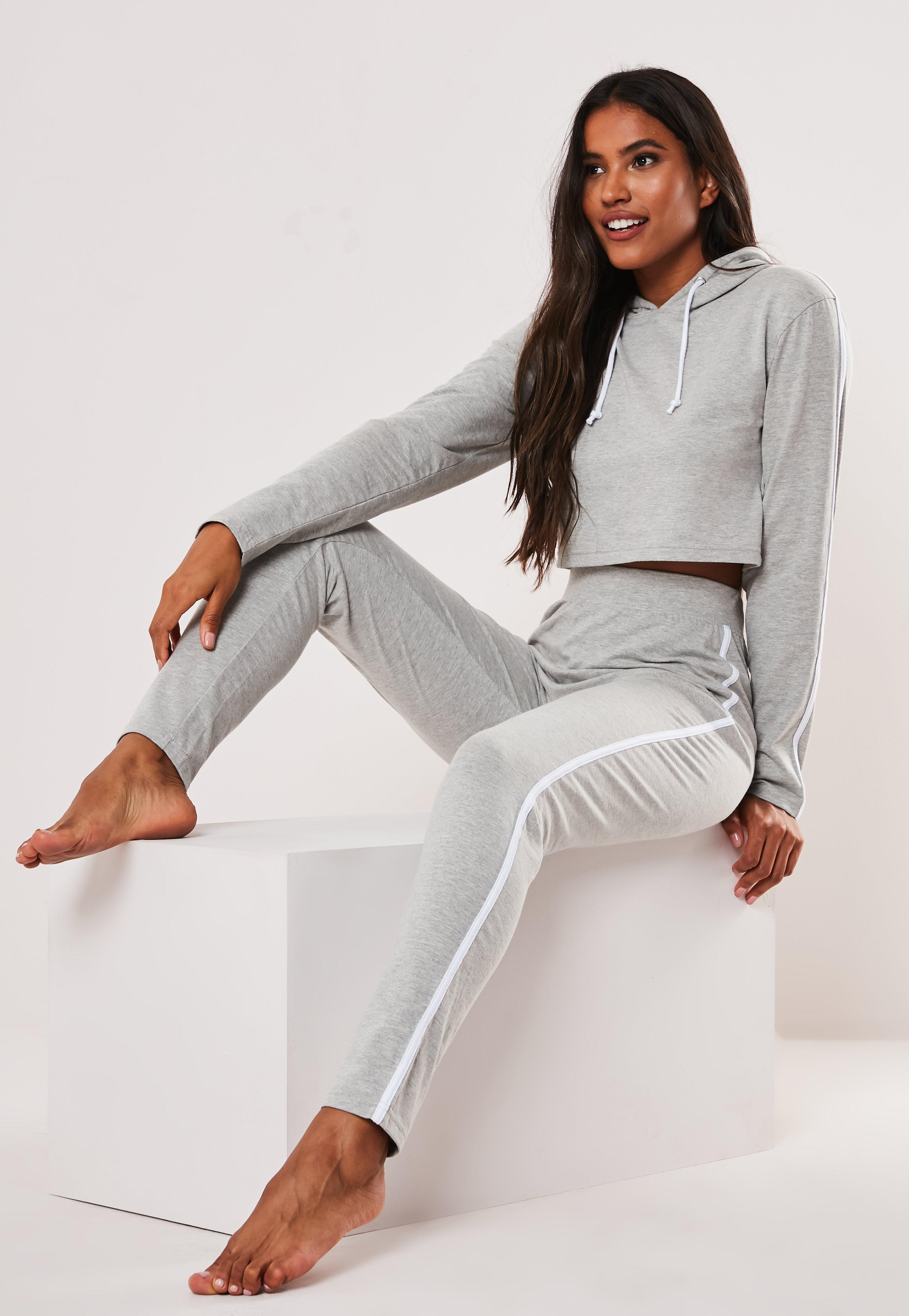 0379ca77 Grey Side Stripe Cropped Hoodie Loungewear Set