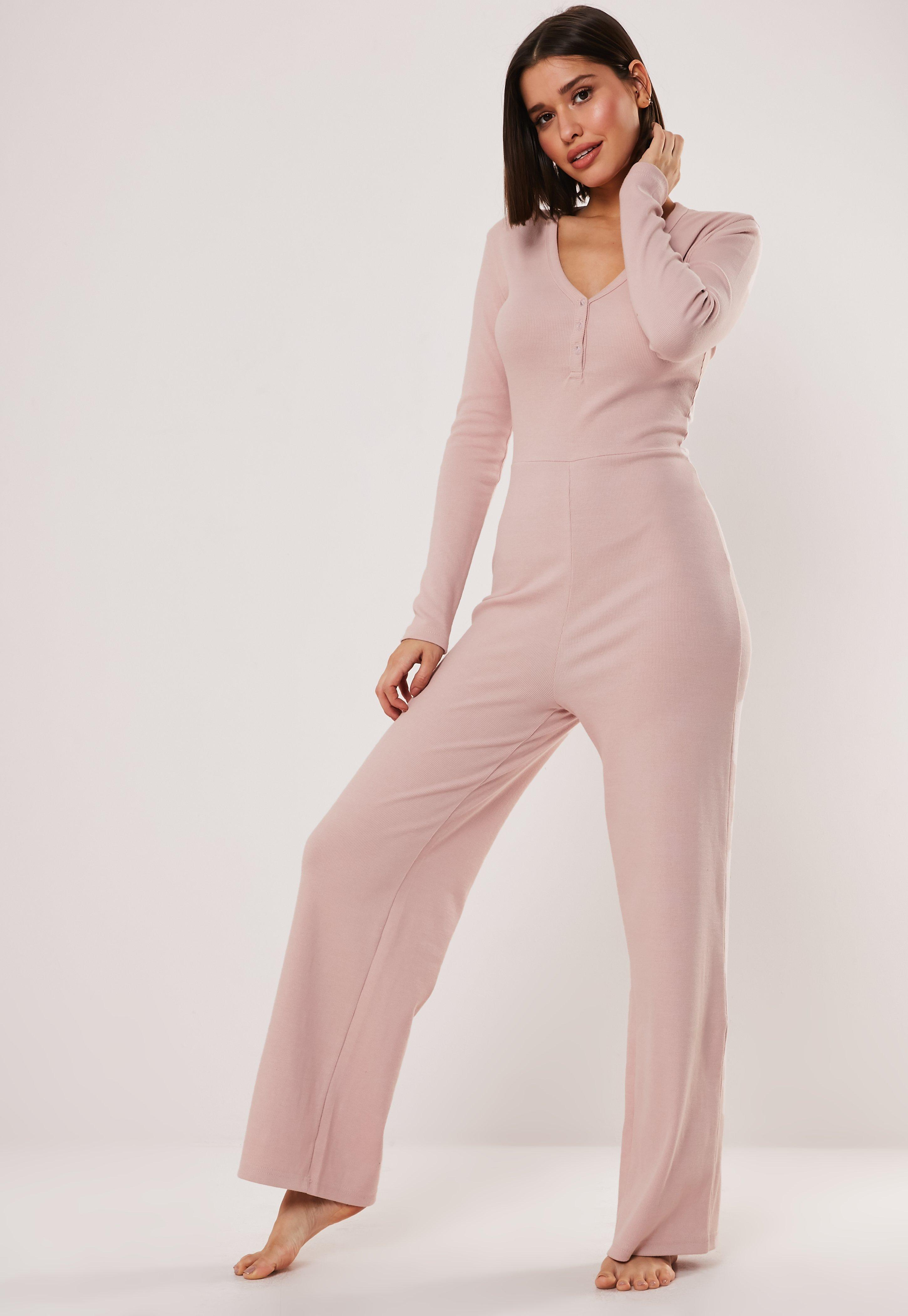 476bdf07056ed Blush Rib Lounge Jumpsuit