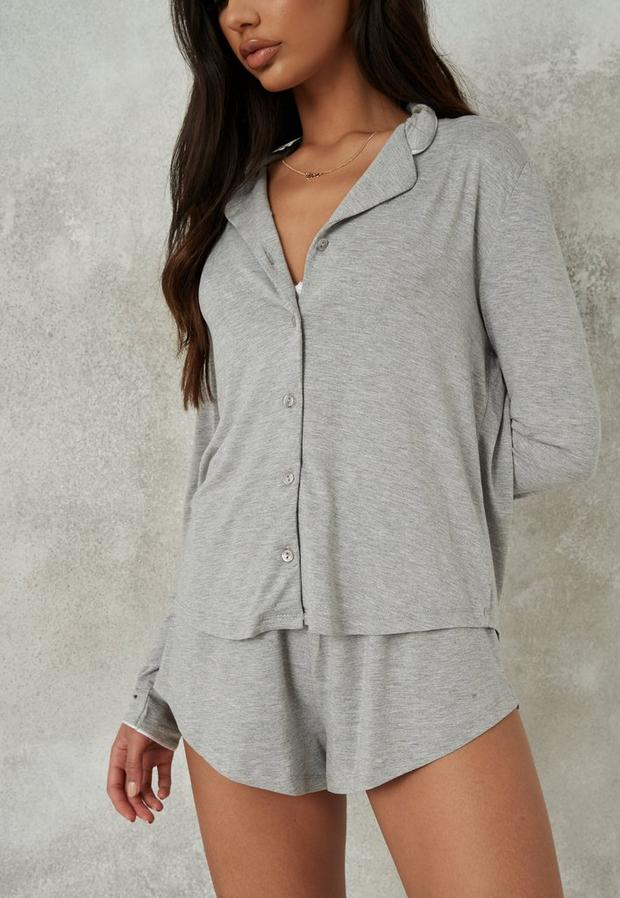 Soft Touch Long Sleeve Top And Shorts Pyjama Set