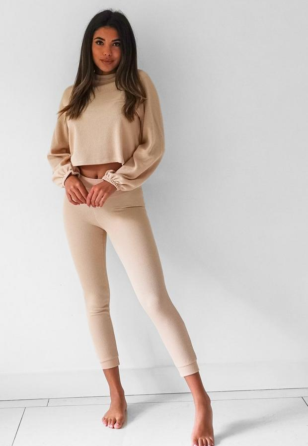 camel rib balloon sleeve top and joggers loungewear set