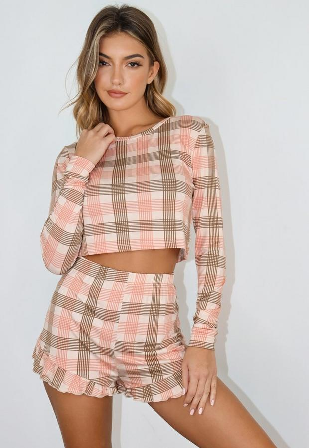 Check Round Neck Frill Short Pyjama Set