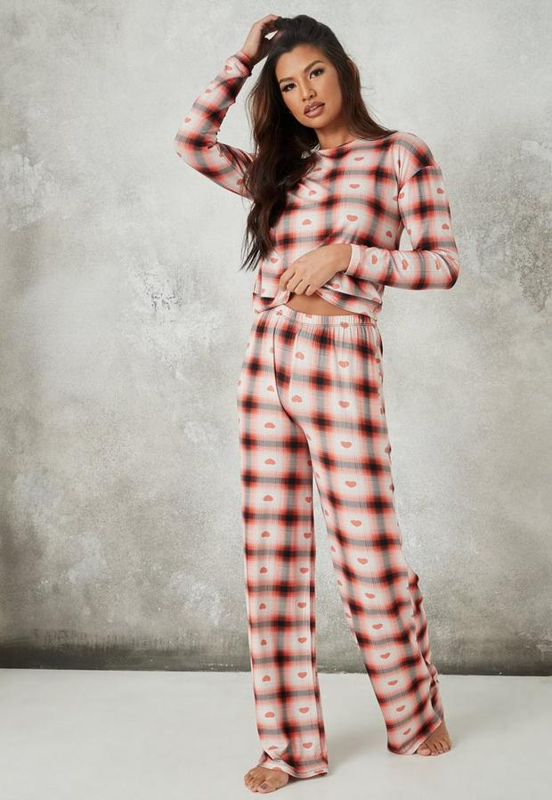 Check Heart Sweatshirt And Wide Leg Pyjama Set