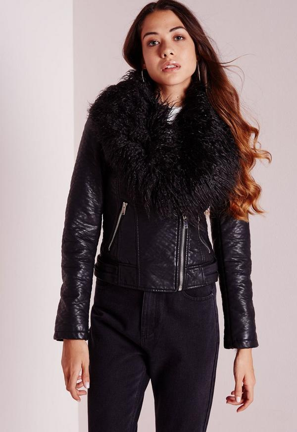 Faux Leather Biker Jacket with Mongolian Collar Black | Missguided