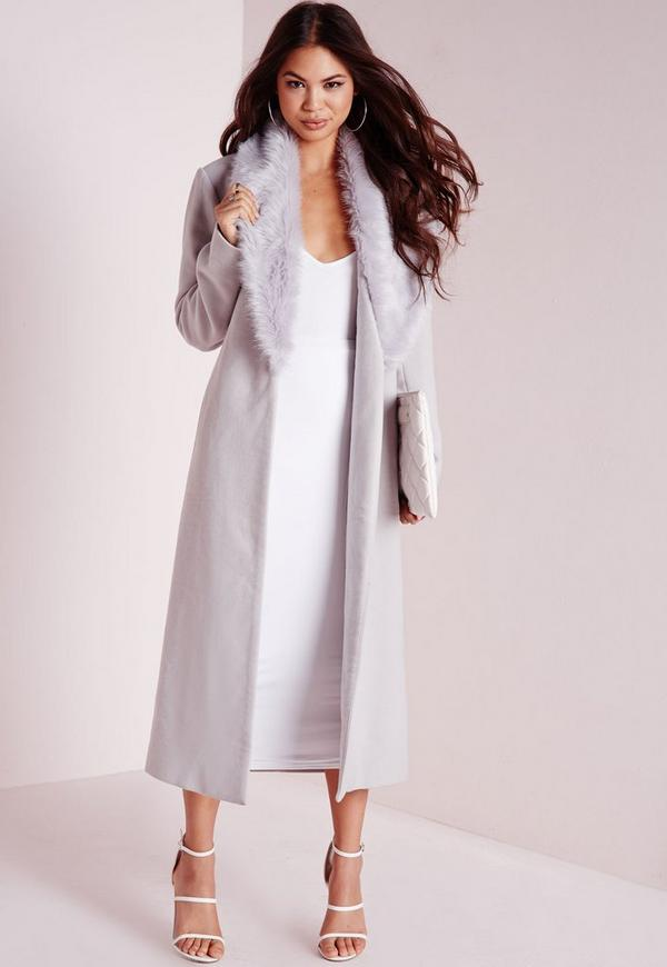 Longline Faux Wool Coat with Faux Fur Collar Grey