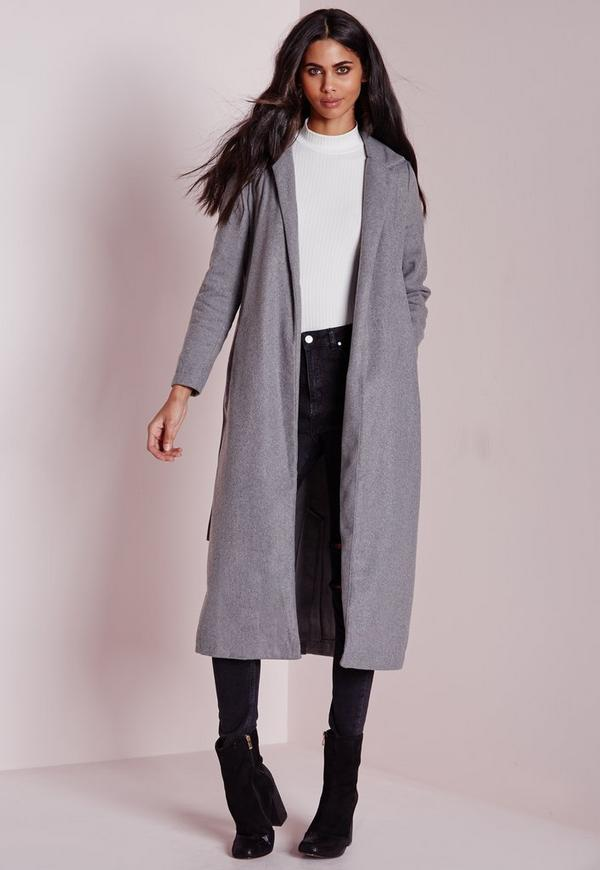 Faux Wool Belted Duster Coat Grey