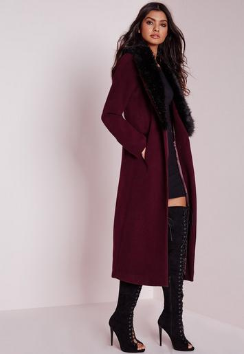 Longline Wool Coat with Faux Fur Collar Burgundy ...