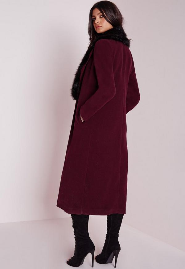 Longline Wool Coat with Faux Fur Collar Burgundy | Missguided