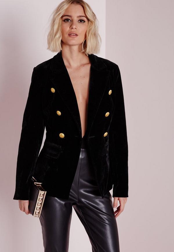 Manteau femme noir bouton dore