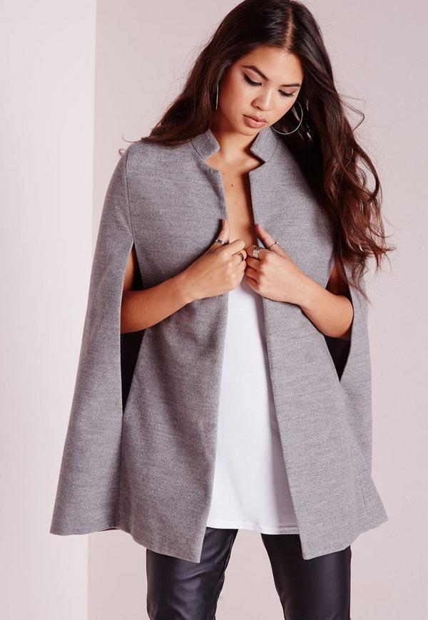 Wool Blazer Cape Grey