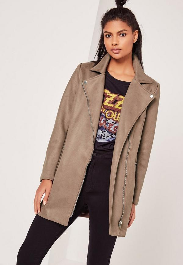 Bonded Faux Suede Biker Coat Brown