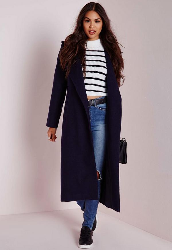 Unique Oversized Wool Coat Navy Blue | Missguided LF41