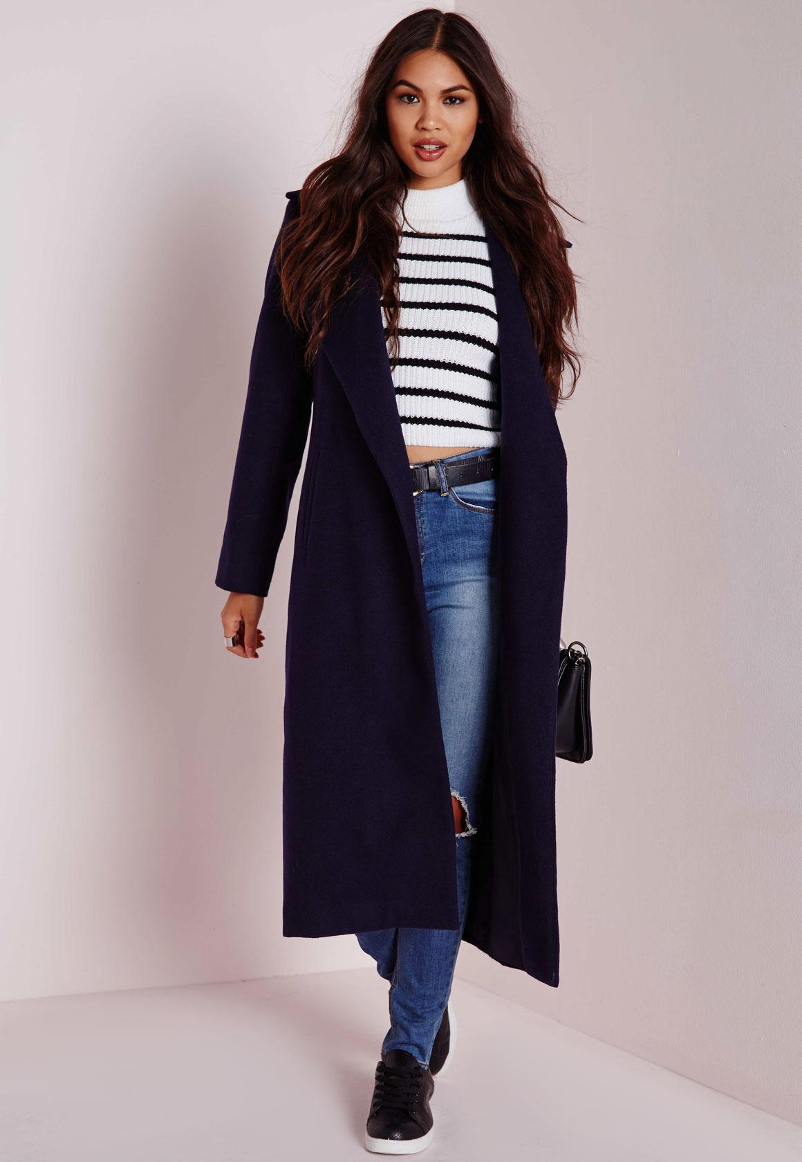 Oversized Wool Coat Navy Blue | Missguided