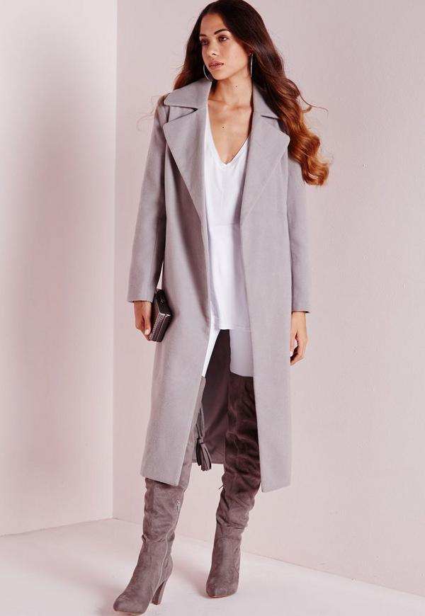 Oversized Wool Coat Light Grey