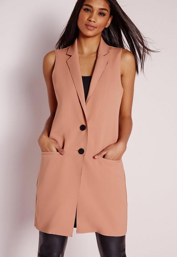 Sleeveless Raw Edge Longline Blazer Pink