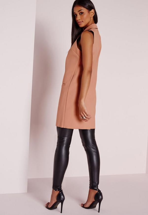 sleeveless raw edge longline blazer pink missguided. Black Bedroom Furniture Sets. Home Design Ideas